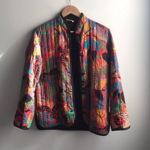 VINTAGE red quilted parakeet bird tropical jacket